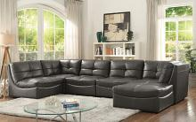 CM6456 6 pc Libbie gray breathable leatherette modular sectional sofa set