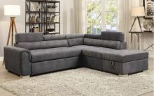 Acme 50275 3 pc Marrero thelma grey polished microfiber sectional sofa set with pull out sleep area