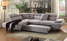 Acme 52990 2 pc Orren ellis pattonsburg jemima gray fabric sectional sofa set with pull out sleep area
