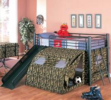 7470 Zoomie kids cuomo Gi joe loft bed with slide and tent