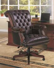 800142 Dark brown leatherette high back tufted seat and back executive office chair with pin trim