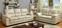 CM6324IV 2 pc parma ivory padded leatherette sofa and love seat set