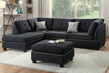 Poundex F6974 3 pc Ebern designs amarre black linen like fabric sectional sofa reversible chaise and ottoman