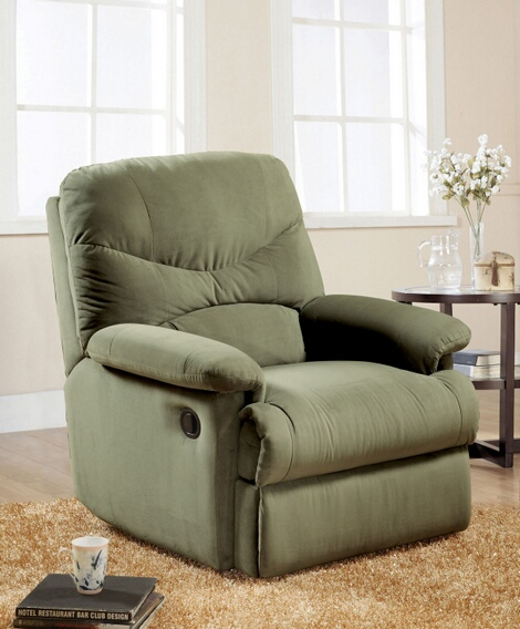 ACM00630 Arcadia sage microfiber fabric standard motion reclining recliner chair with overstuffed seats and arms