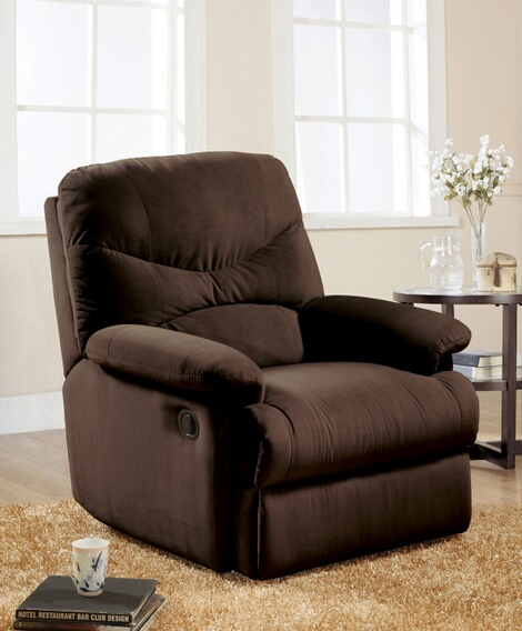 ACM00635 Arcadia chocolate microfiber fabric standard motion glider reclining recliner chair with overstuffed seats and arms