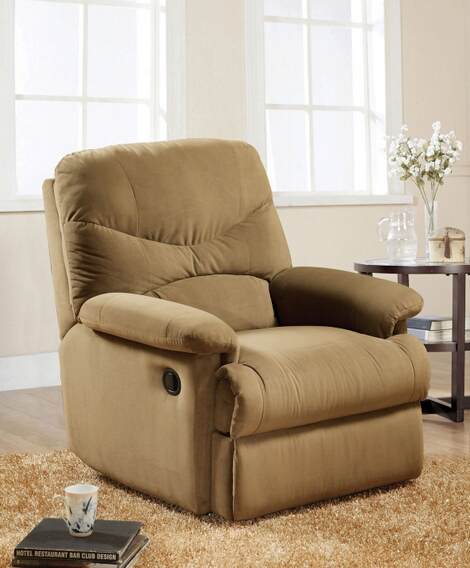 ACM00634 Arcadia light brown microfiber fabric standard motion glider reclining recliner chair with overstuffed seats and arms