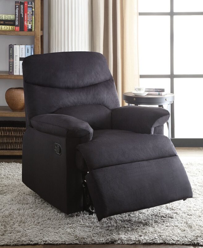 Acme 00701 Arcadia black woven fabric recliner chair with overstuffed seats and arms