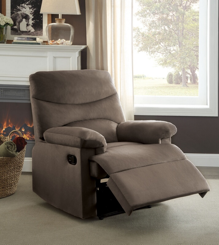 Acme 00702 Arcadia beige woven fabric recliner chair with overstuffed seats and arms