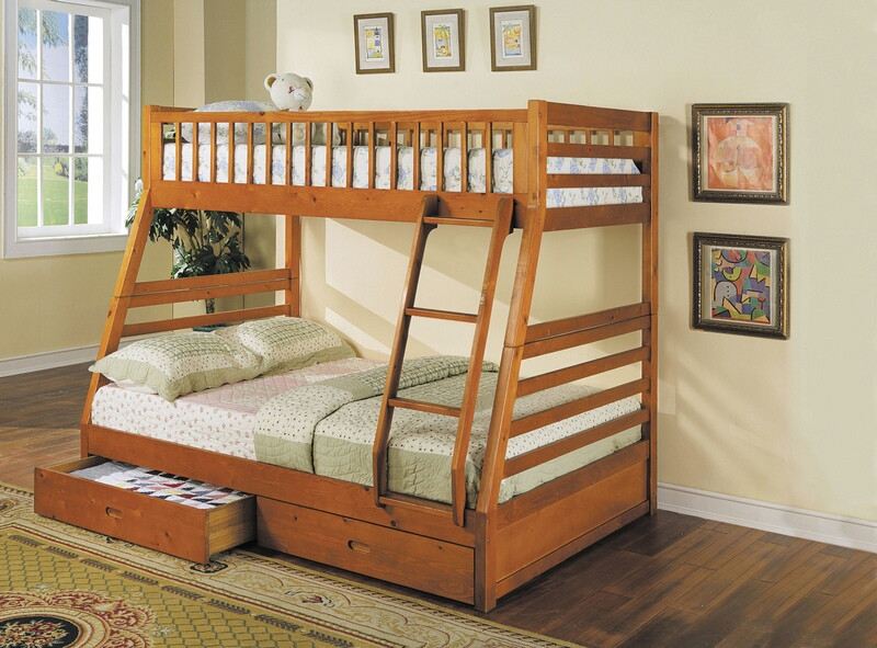 Acme 02018 Zoomie kids culpepper jason honey oak finish wood under bed drawers twin over full bunk bed set