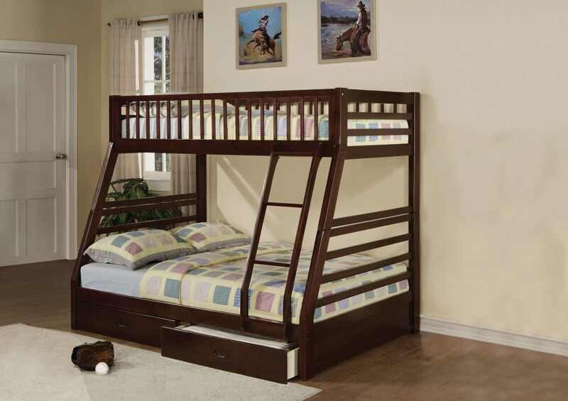 Acme 02020 Jason espresso finish wood under bed drawers twin over full bunk bed set