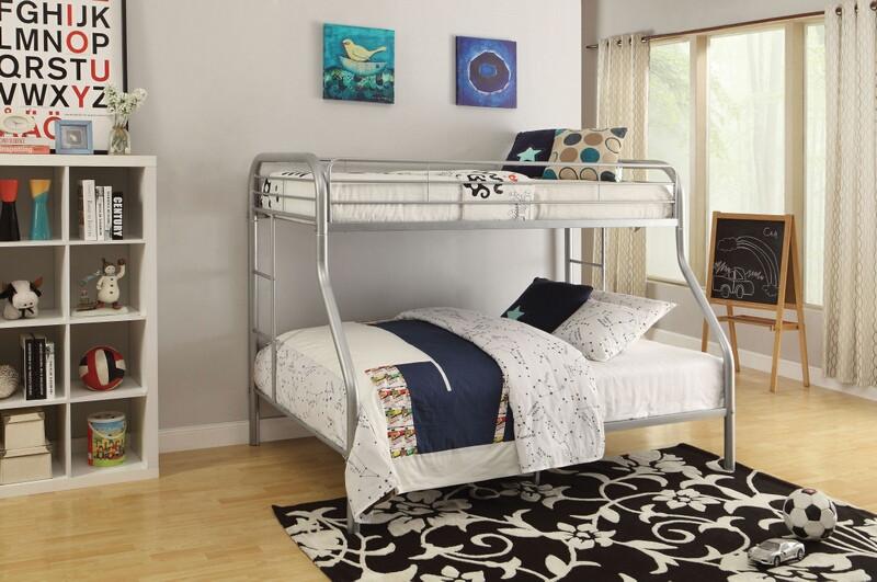 Acme 02053SI Tritan twin over full silver finish tubular metal bunk bed