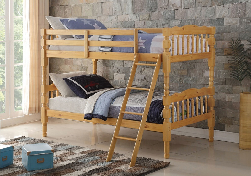 Acme 02299 Homestead Natural Finish Wood Twin Over Twin Bunk Bed Set
