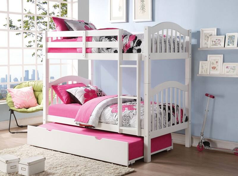 Acme 02354 Heartland white finish wood twin over twin bunk bed set