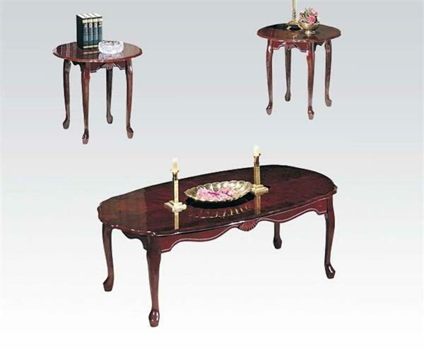ACM02402 3 pc essex collection cherry finish wood coffee table and end tables