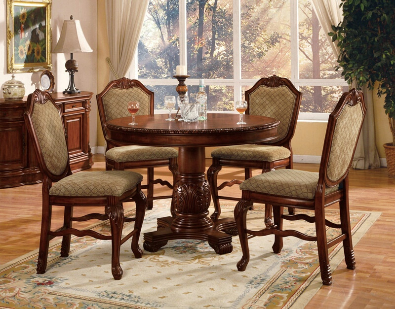 ACM04082 Chateau De Ville cherry brown finish wood counter height dining table set with pedestal table and chairs