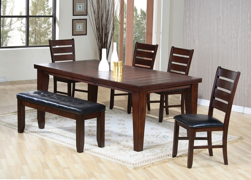 ACM04620 6 pc Urbana II country collection cherry finish wood dining table set with leather like vinyl upholstered side chairs and bench