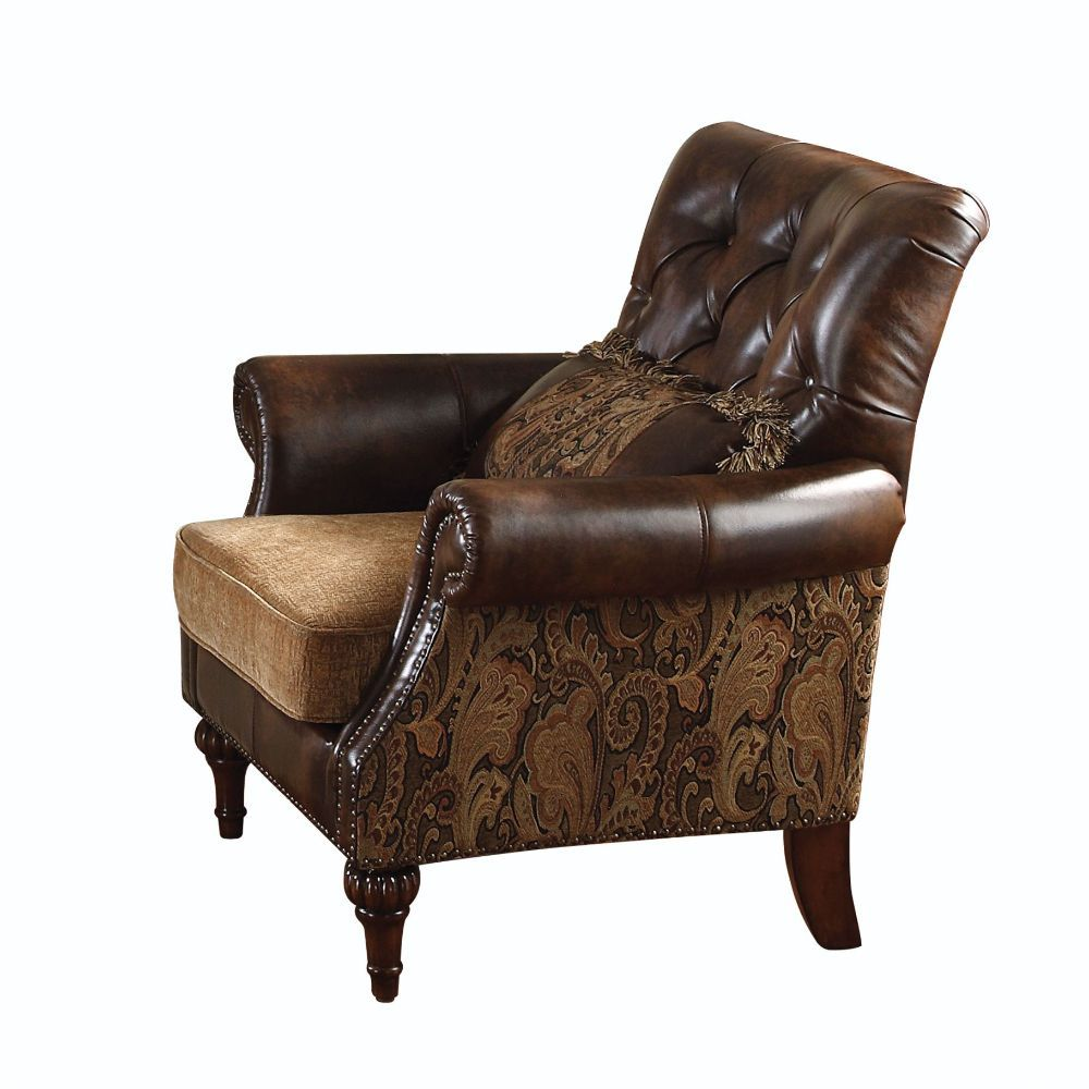 ACM05497 Dreena chenille chair with accent pillow upholstered with bonded leather