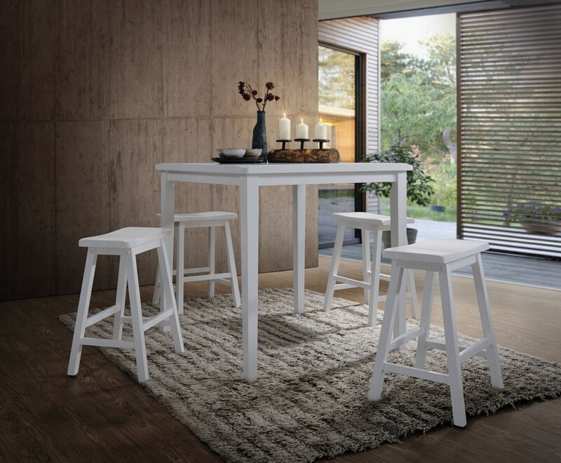 Acme 07289 5 pc Gaucho white finish wood counter height bar table set