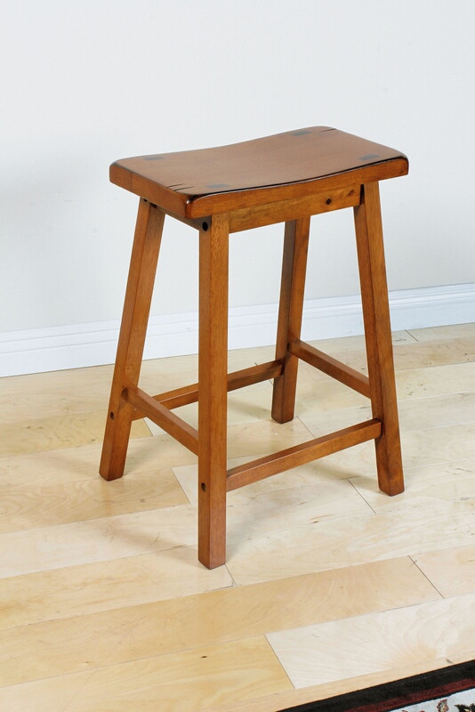 Set of 2 gaucho oak finish wood counter height farmhouse style bar stools