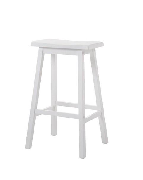 Acme 07311 Set of 2 gaucho white finish wood farmhouse style bar stools