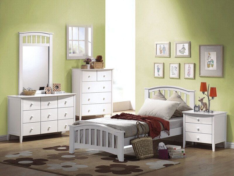 Acme 09150T 4 pc san marino II white finish wood twin bed set