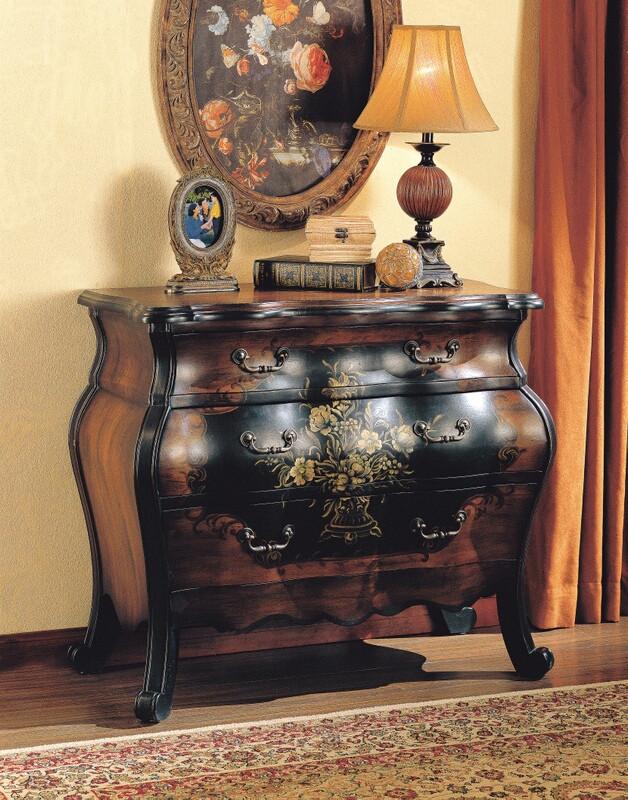 Acme 09205 Roma antique black and oak finish wood bombay chest