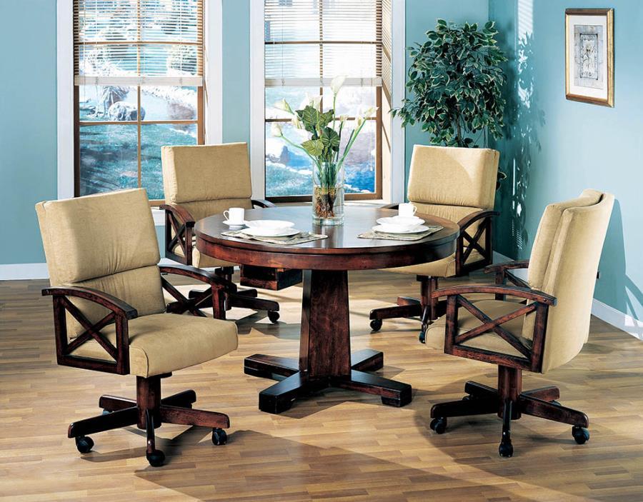 100171-72 5 pc marietta man cave walnut brown finish wood game room table , poker, bumper pool, dining