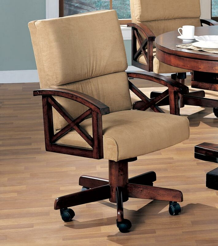 CST100172 Gameroom / Poker chair rustic tobacco finish wood and tan fabric upholstered swivel chair with casters