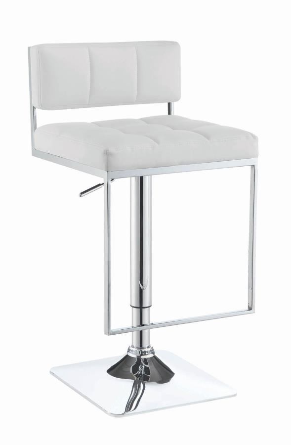 100193 White faux leather adjustable height bar stool chrome base