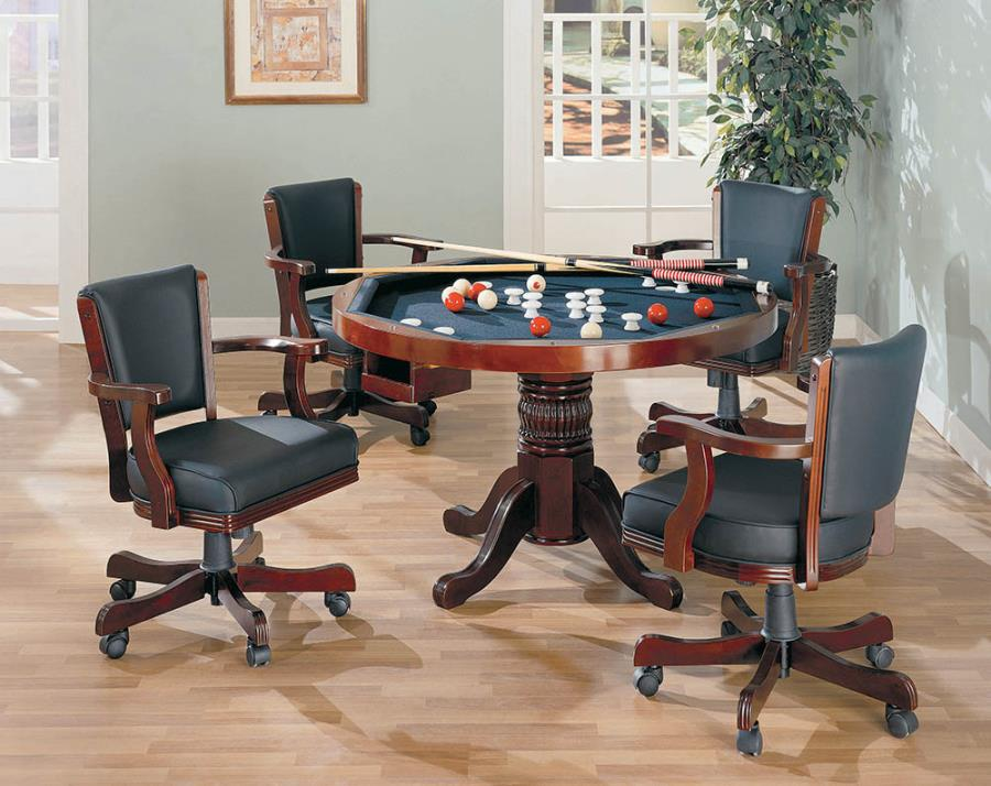 100201-02 5 pc Wildon home norwich mitchell man cave cherry finish game room table set, poker, bumper pool, dining table