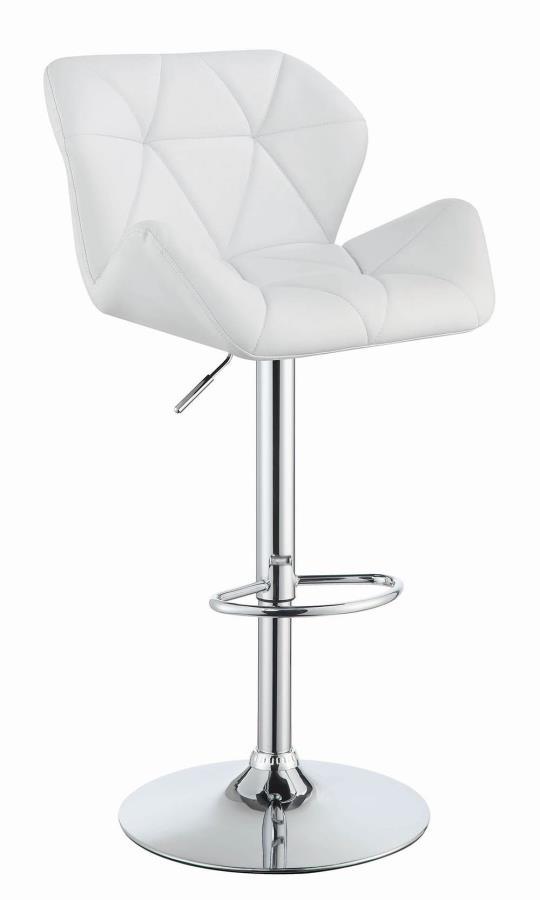 100424 Set of 2 white faux leather adjustable height bar stool chrome base