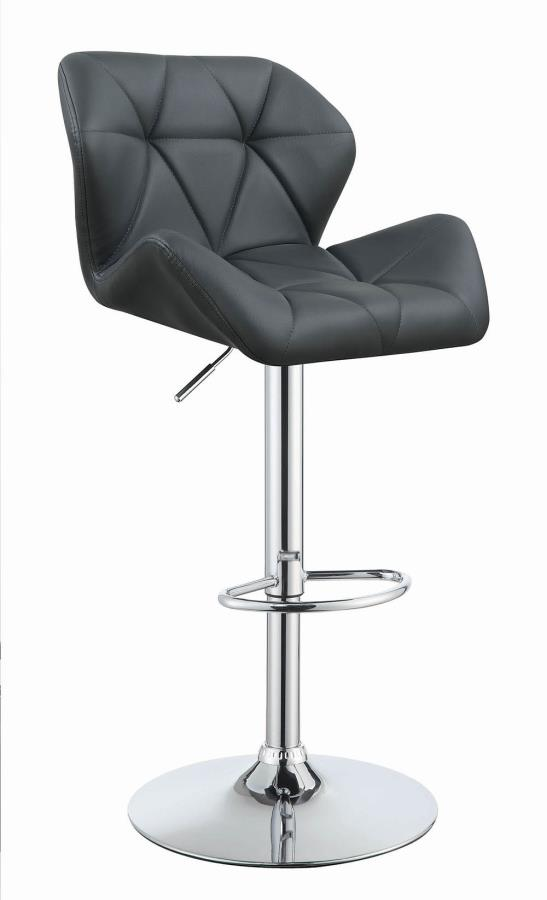 100426 Set of 2 gray faux leather adjustable height bar stool chrome base