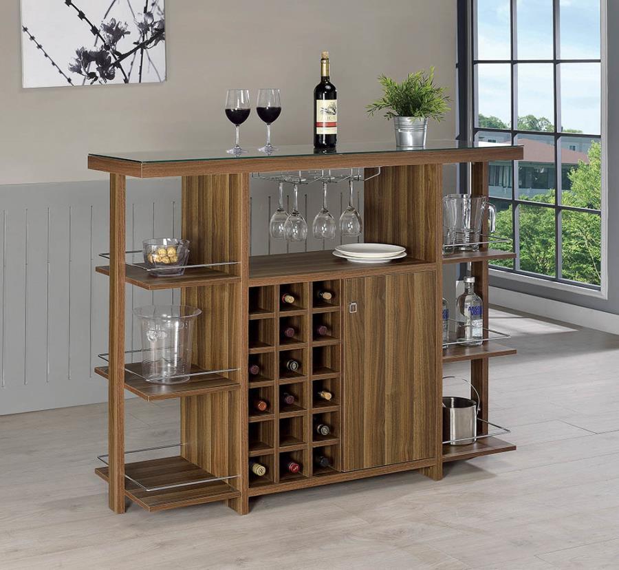 100439 Wildon home mansfield modern style walnut finish wood bar unit