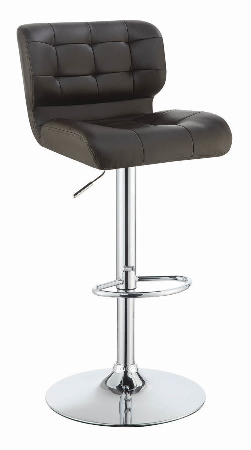 100544 Set of 2 Brown faux leather adjustable height bar stool chrome base