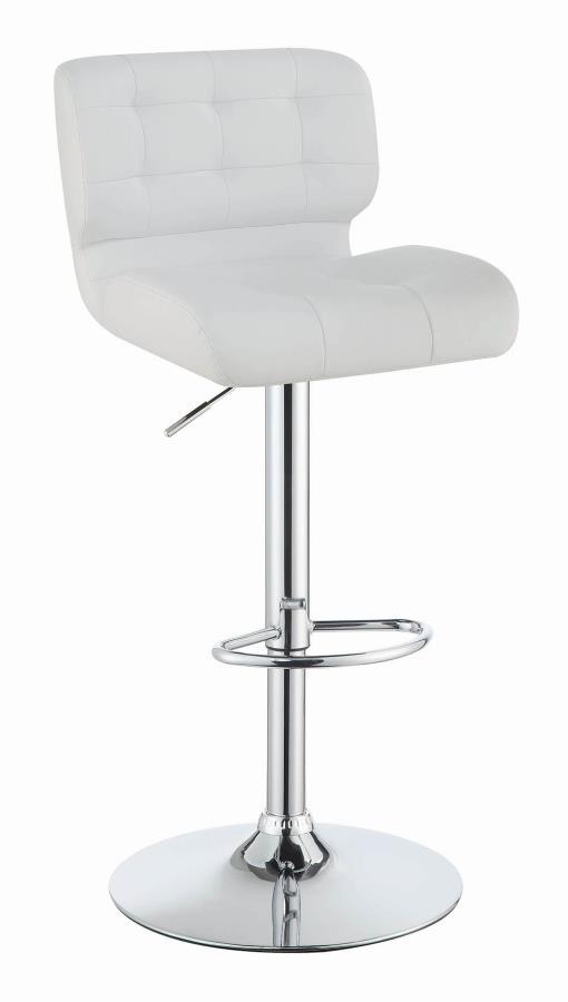 100546 Set of 2 white faux leather adjustable height bar stool chrome base