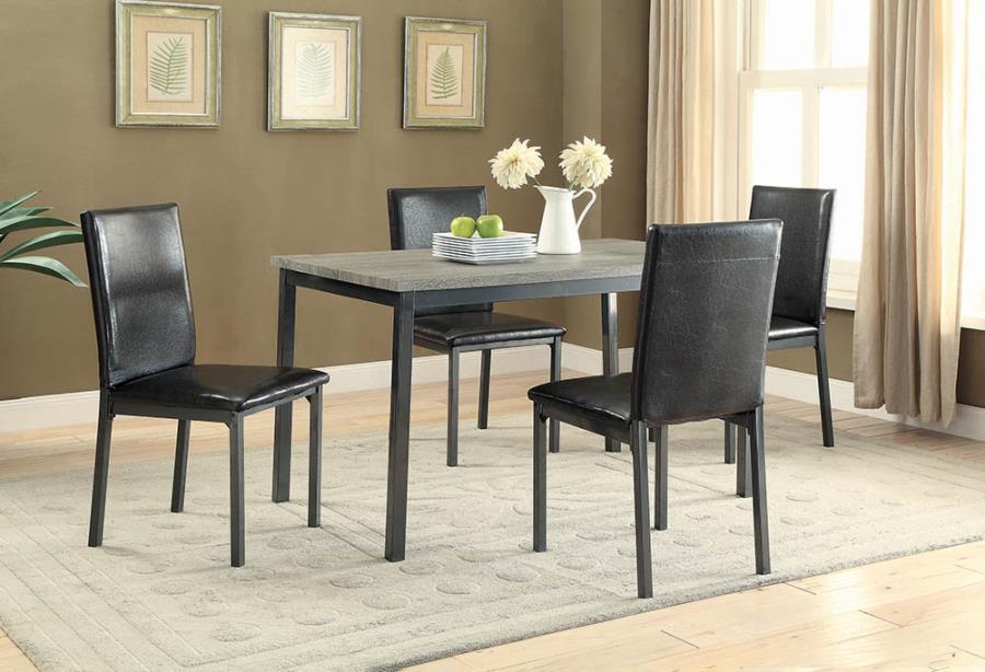100611 5 pc Wrought studio hagerty garza black finish metal dining table set