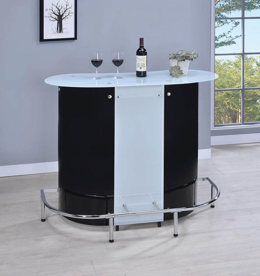100654 Zipcode design austen modern style black , white and chrome finish metal curved front bar unit