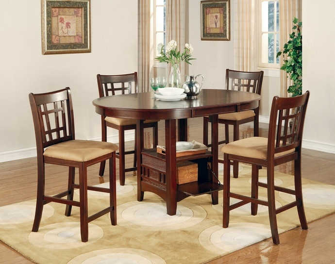 CST100888N 5 pc Lavon collection cherry finish wood oval top counter height dining table set with leaf