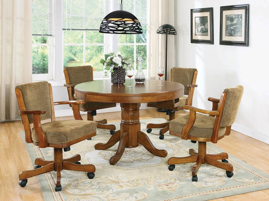 100951-52 5 pc Allcott hill eagarville mitchell man cave oak finish wood game dining poker table