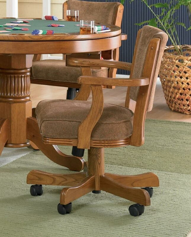 CST100952 Gameroom / Poker chair amber finish wood and olive brown fabric upholstered swivel chair with casters