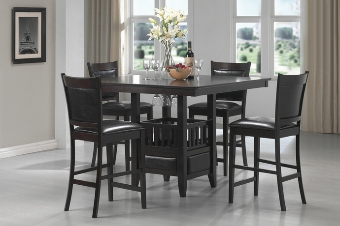 CST100958 5 pc Jaden collection espresso finish wood square counter height pedestal dining table set