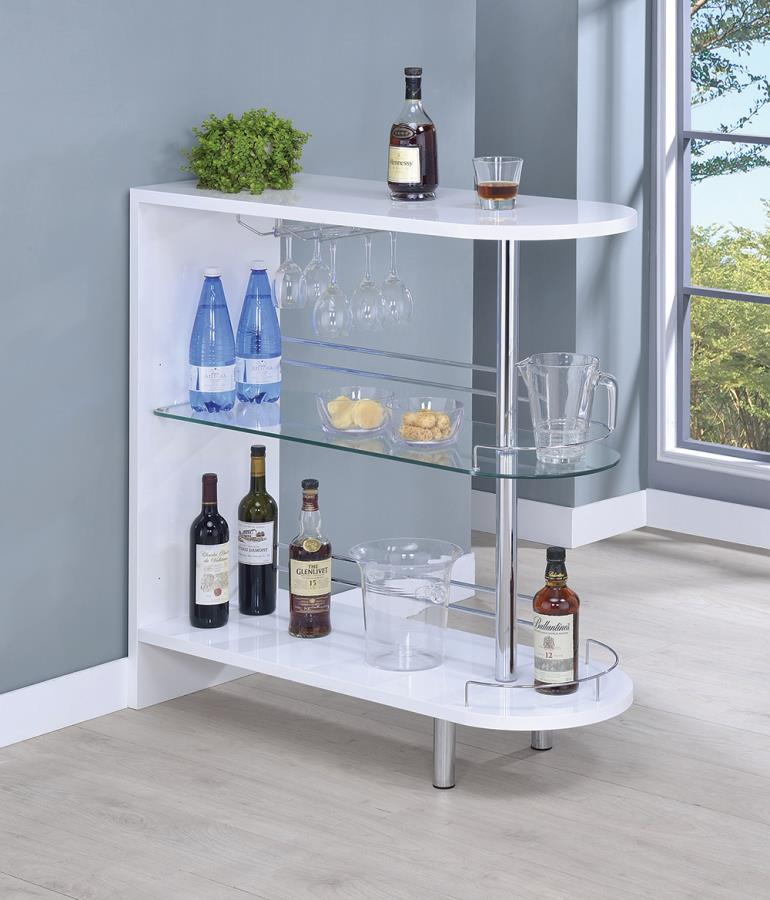 101064 Ebern designs kahoka modern style white high gloss finish bar unit with tempered glass shelves
