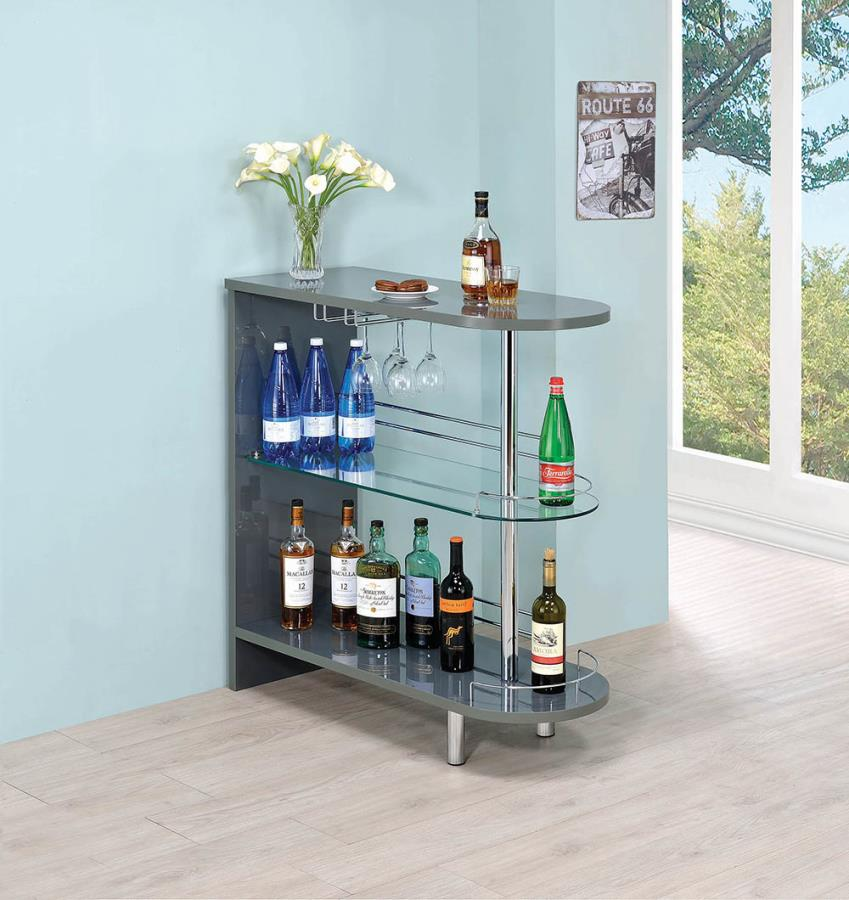 101073 Varick gallery milwaukee modern style glossy gray finish bar unit