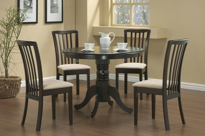 CST101081 5 pc Brannan collection espresso finish wood mission style design upholstered seats dining table set