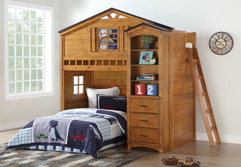 ACM10160-63 Tree house style rustic oak finish wood kids loft bed bunk bed set