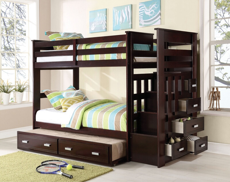 ACM10170 Espresso finish wood twin over twin bunk bed set with storage drawer steps and slide out trundle.