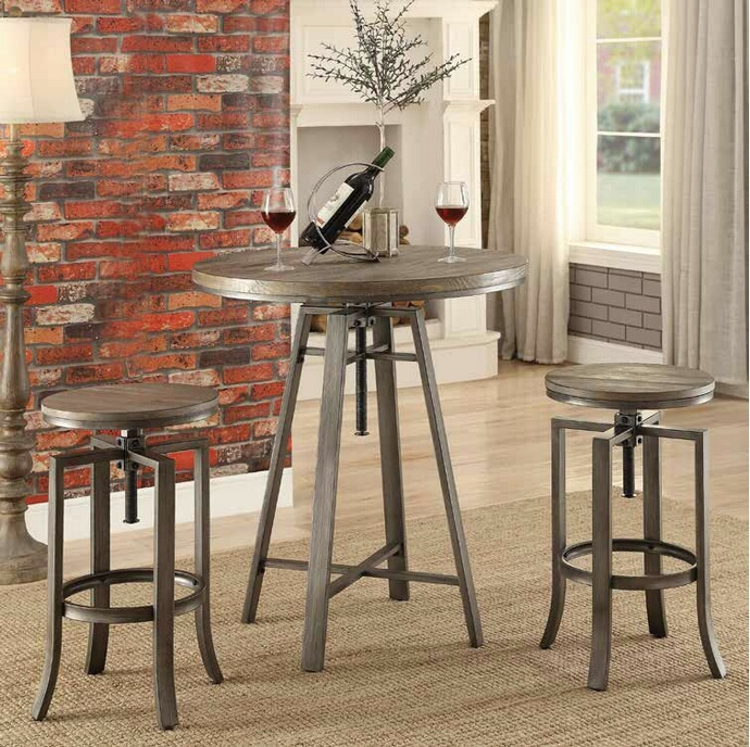 CST101811-122101 3 pc set Industrial styles collection brushed slate grey finish metal frame and wire brushed nutmeg top bar table and stools