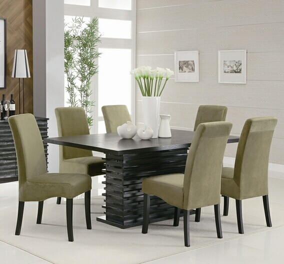 7 PC Stanton Black Wood Finish Contemporary Dining Table