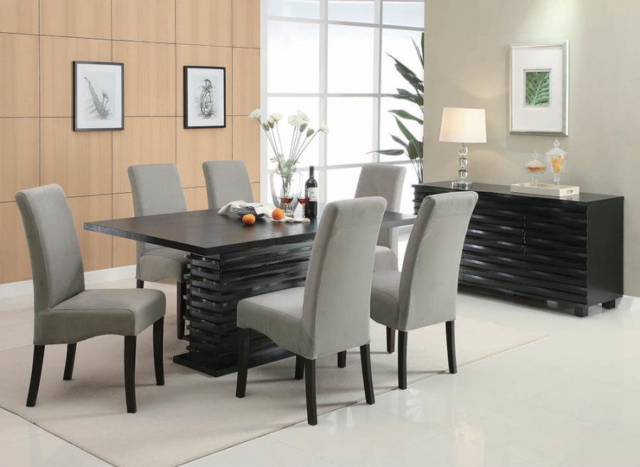 102061 7 pc Orren ellis annapolis stanton black finish wood layered pedestal dining table set