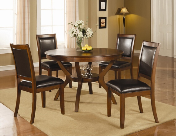 "102171 5 pc Wildon home belfast nelms brown walnut finish 48"" round table set with shelf"